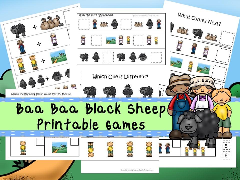 30 Printable Baa Baa Black Sheep learning games