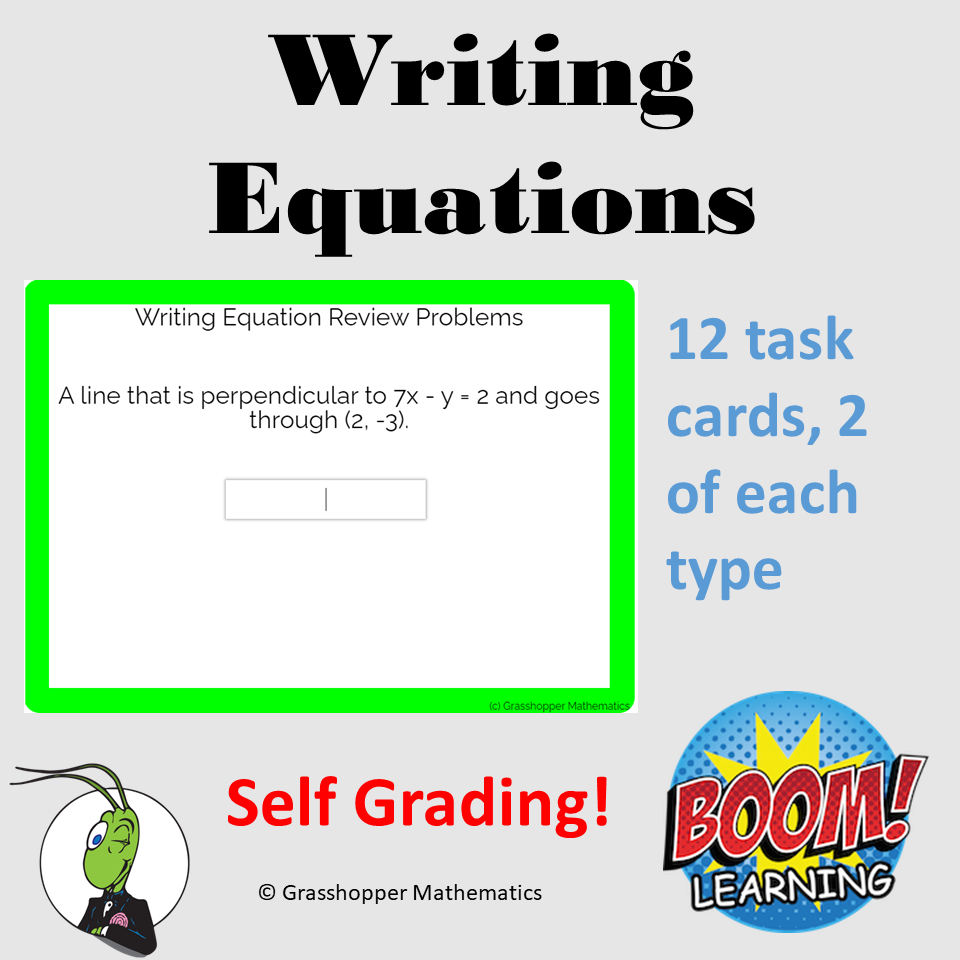 Writing Equations Review Digital Task Cards