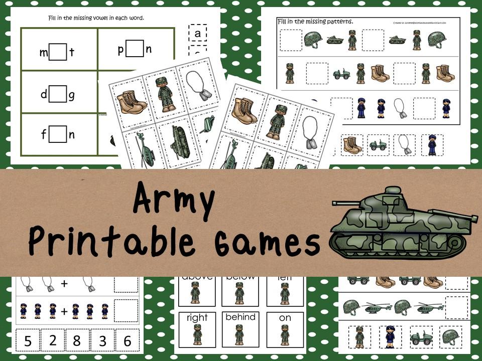 30 Printable Army themed preschool curriculum game