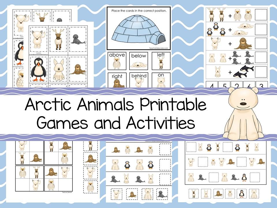 30 Printable Arctic Animals curriculum games
