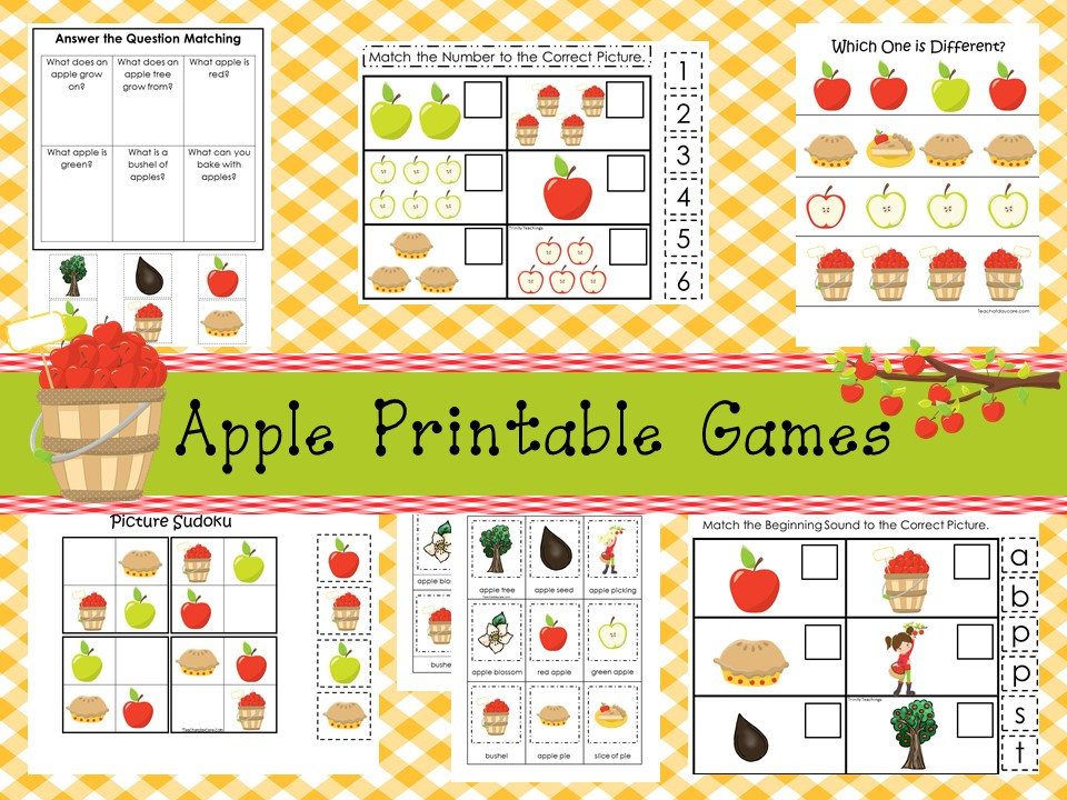 30 Printable Apple Orchard curriculum games
