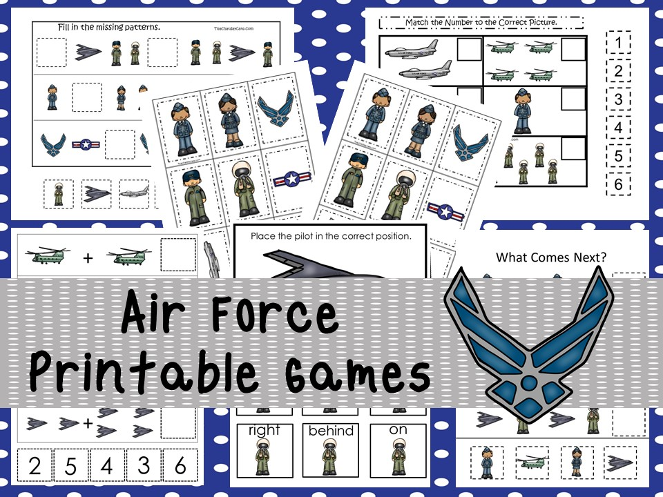 30 Printable Air Force Military curriculum games