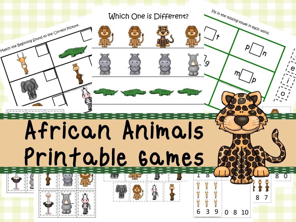 30 Printable African Animals curriculum games
