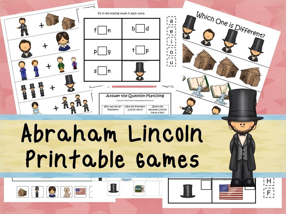 30 Printable Abraham Lincoln curriculum games