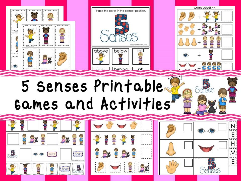 30 Printable Five Senses themed curriculum games