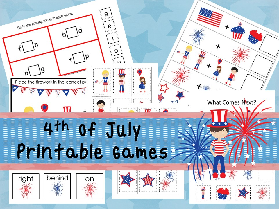 30 Printable July 4th themed curriculum games