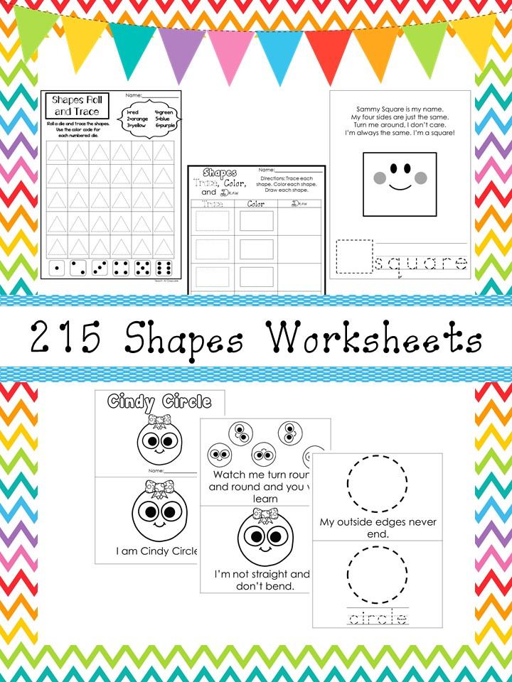 217 Shapes Worksheets and Charts Preschool-Kinderg