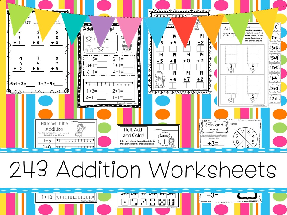 243 Addition Math Worksheets Download. ZIP file.