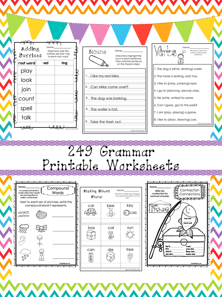 249 Grammar Worksheets Download. 1st-3rd Grade ELA