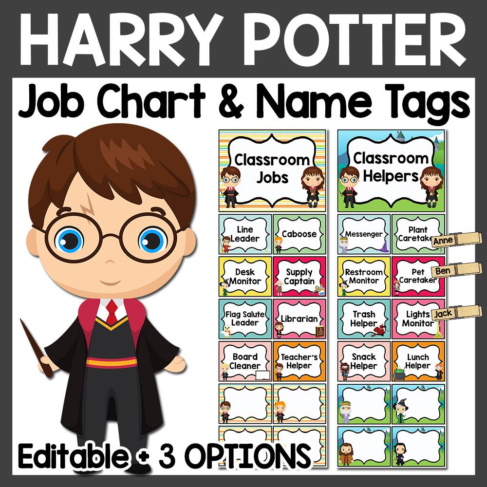 Harry Potter Classroom Job Chart and Name Tags