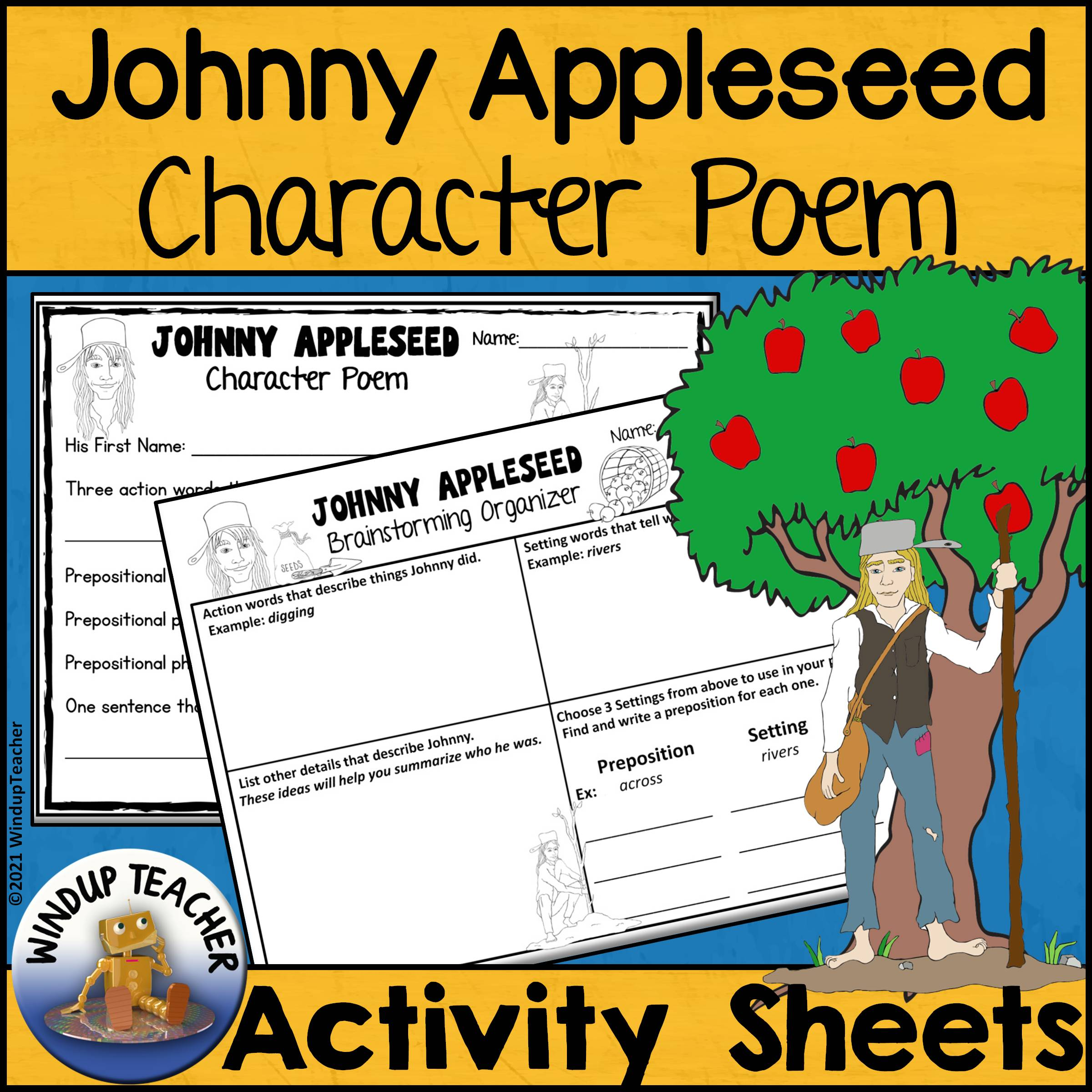 Johnny Appleseed Character Poem Activity