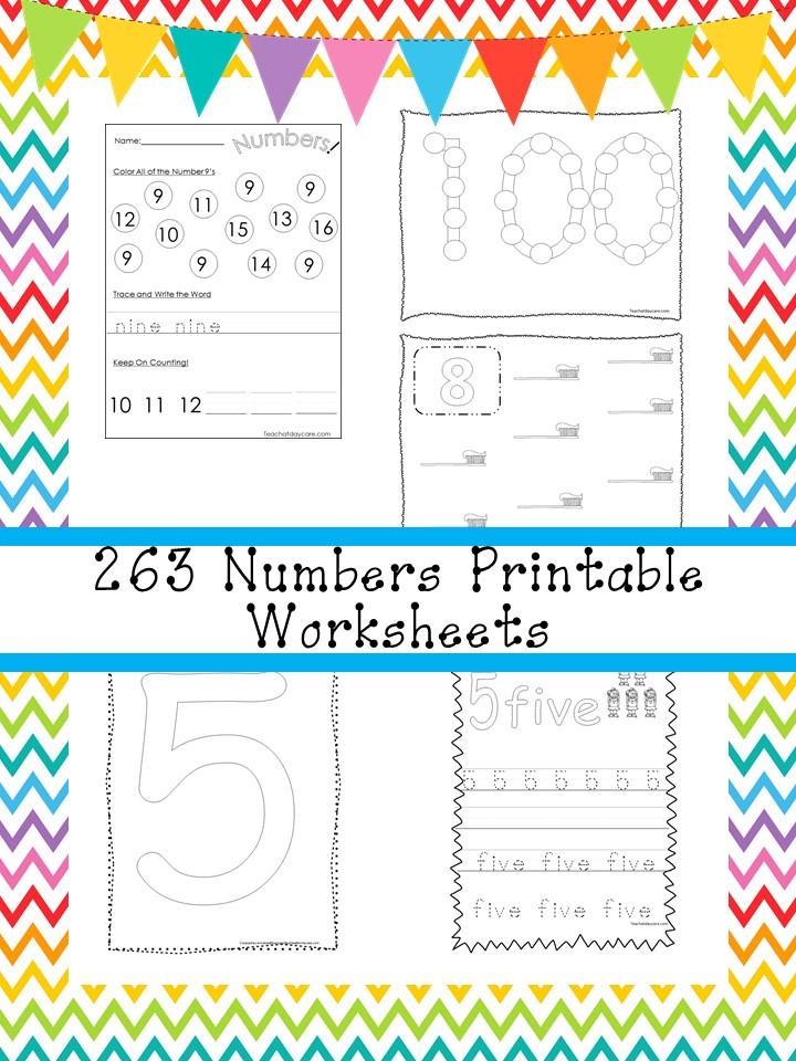 263 Numbers Worksheets Download Preschool-K