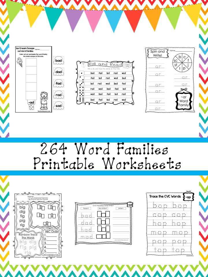 264 Word Families Worksheets Download Preschool-1st Grade
