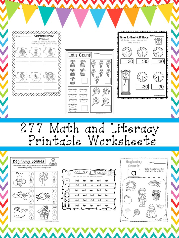 277 Math and Literacy Worksheets Download