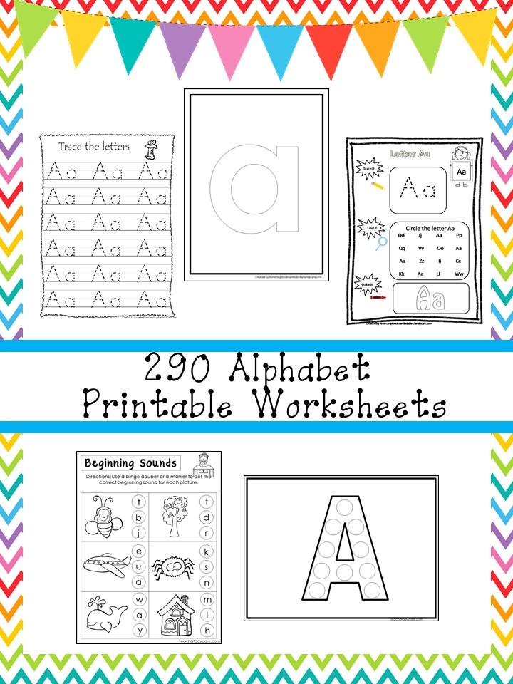 290 Alphabet Worksheets Download. Preschool-Kinder