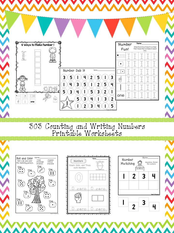 303 Counting and Writing Numbers Worksheets