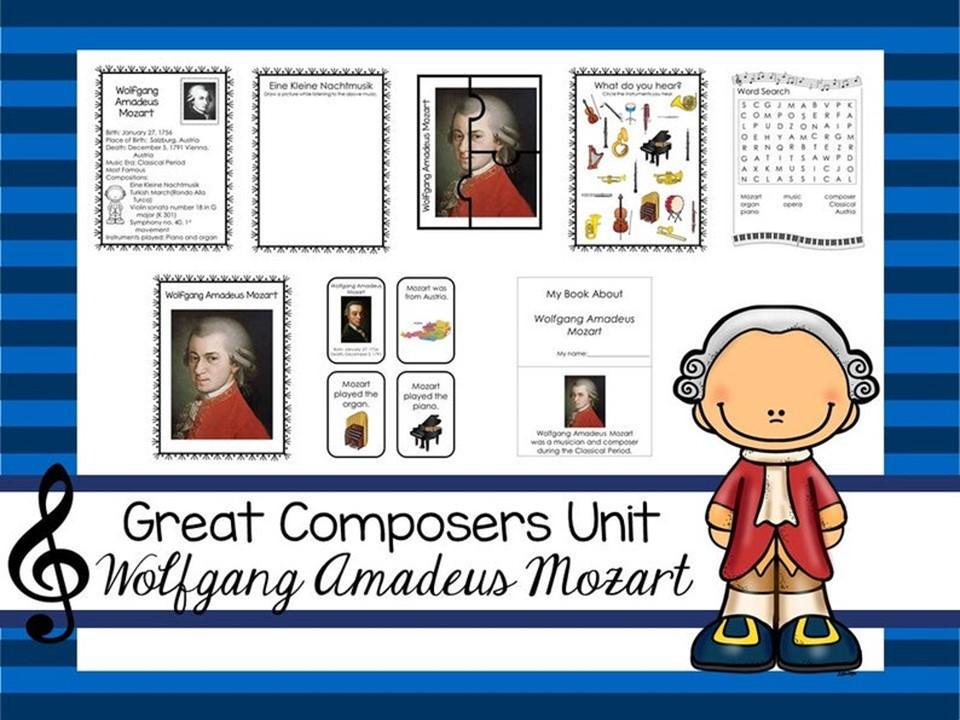Wolfgang Amadeus Mozart Great Composer Unit. Music