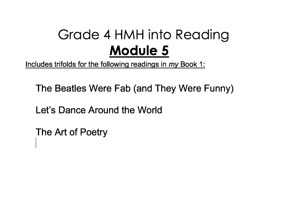 4th Grade HMH into Reading Activity Pack - Module