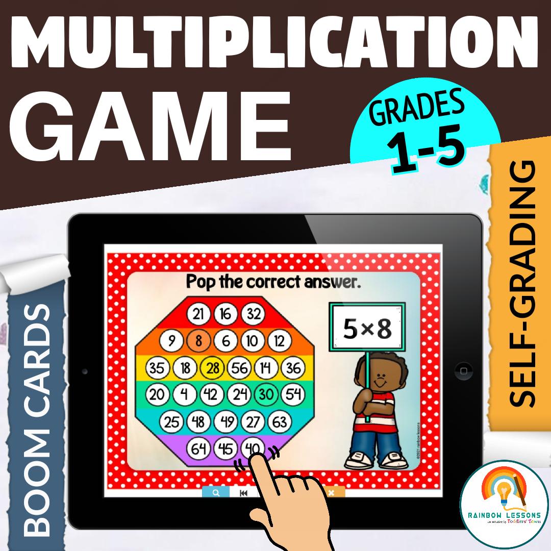 Multiplication Game Pop it Math Boom Cards
