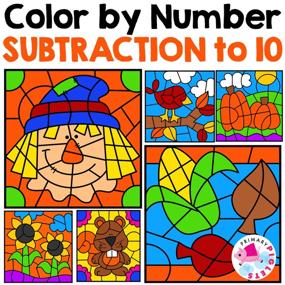 Fall Color by Number Subtraction to 10