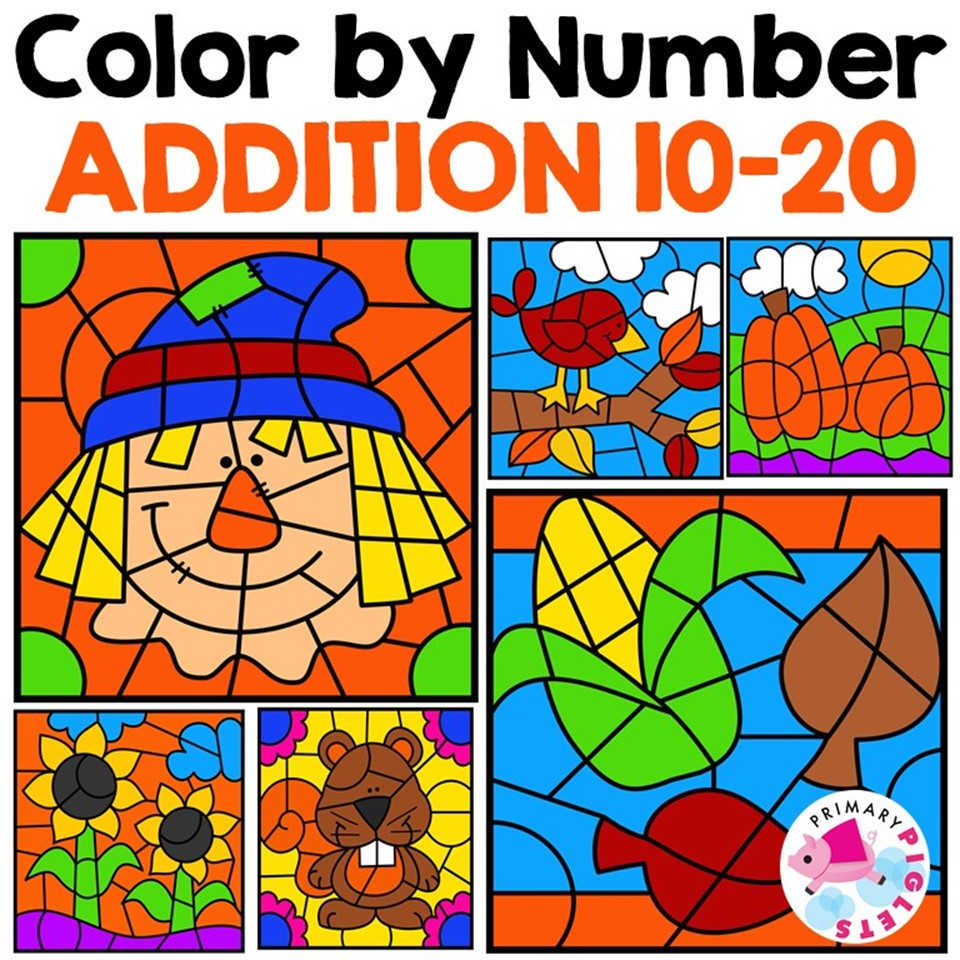 Fall Addition 10 -20 Color by Number