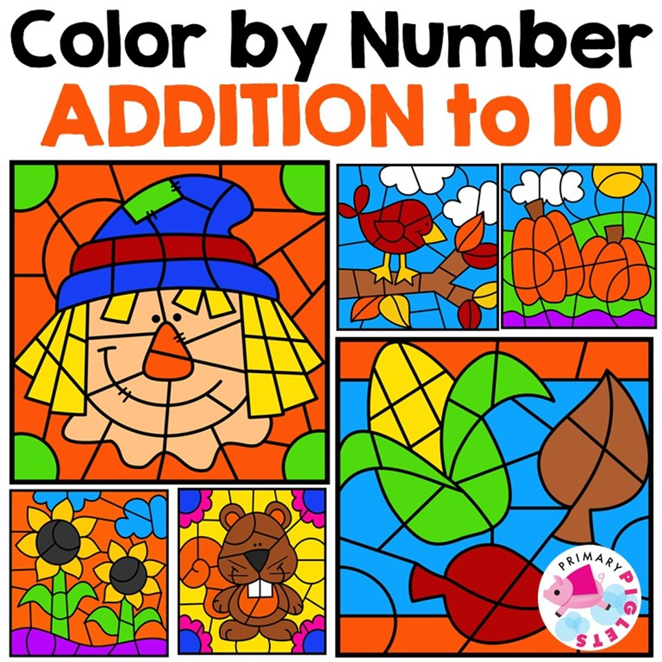 Fall Addition to 10 Color by Number