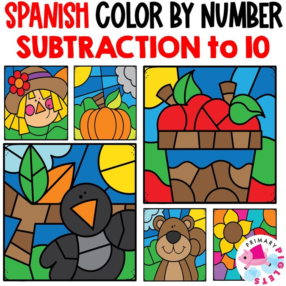 Fall Subtraction to10 Color by Number in Spanish