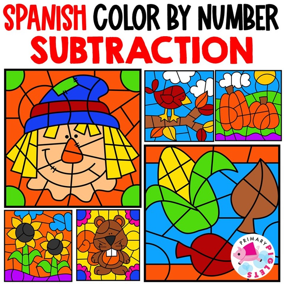 Fall Subtraction Color by Number in Spanish