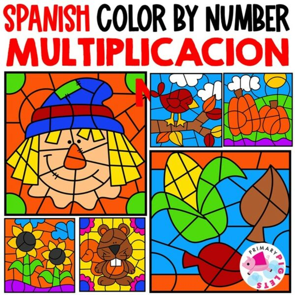 Fall Multiplication Color by Number in Spanish