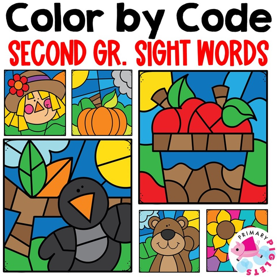 Fall Color by Code Sight Words Second Grade