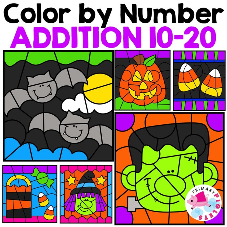 Halloween Addition 10-20 Color by Number