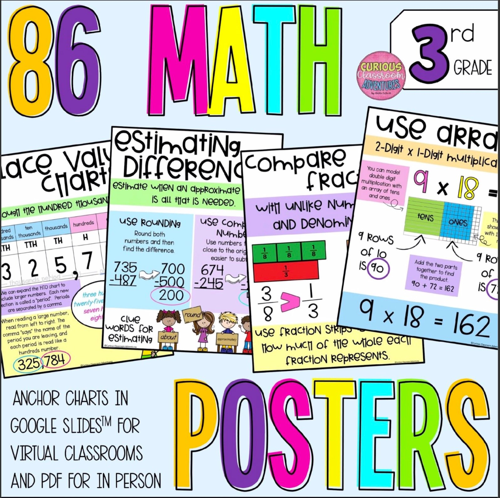 Math Anchor Charts Posters 3rd grade aligned
