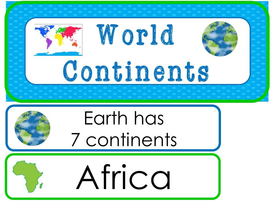 Continents Classroom Word Wall Bulletin Board Set