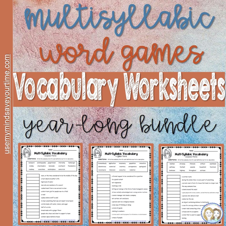 Multisyllabic Words | Vocabulary Worksheets