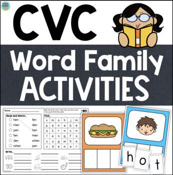 CVC Word Families Worksheets & Activities Vowels