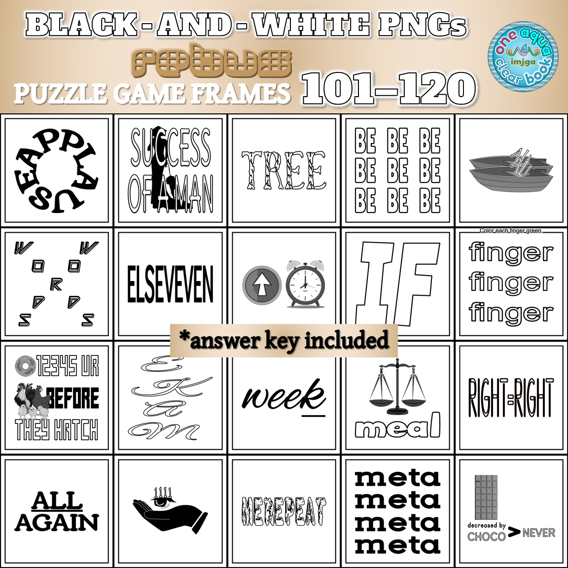 Black-and-White Rebus Puzzle Frames 101-120 PNGs