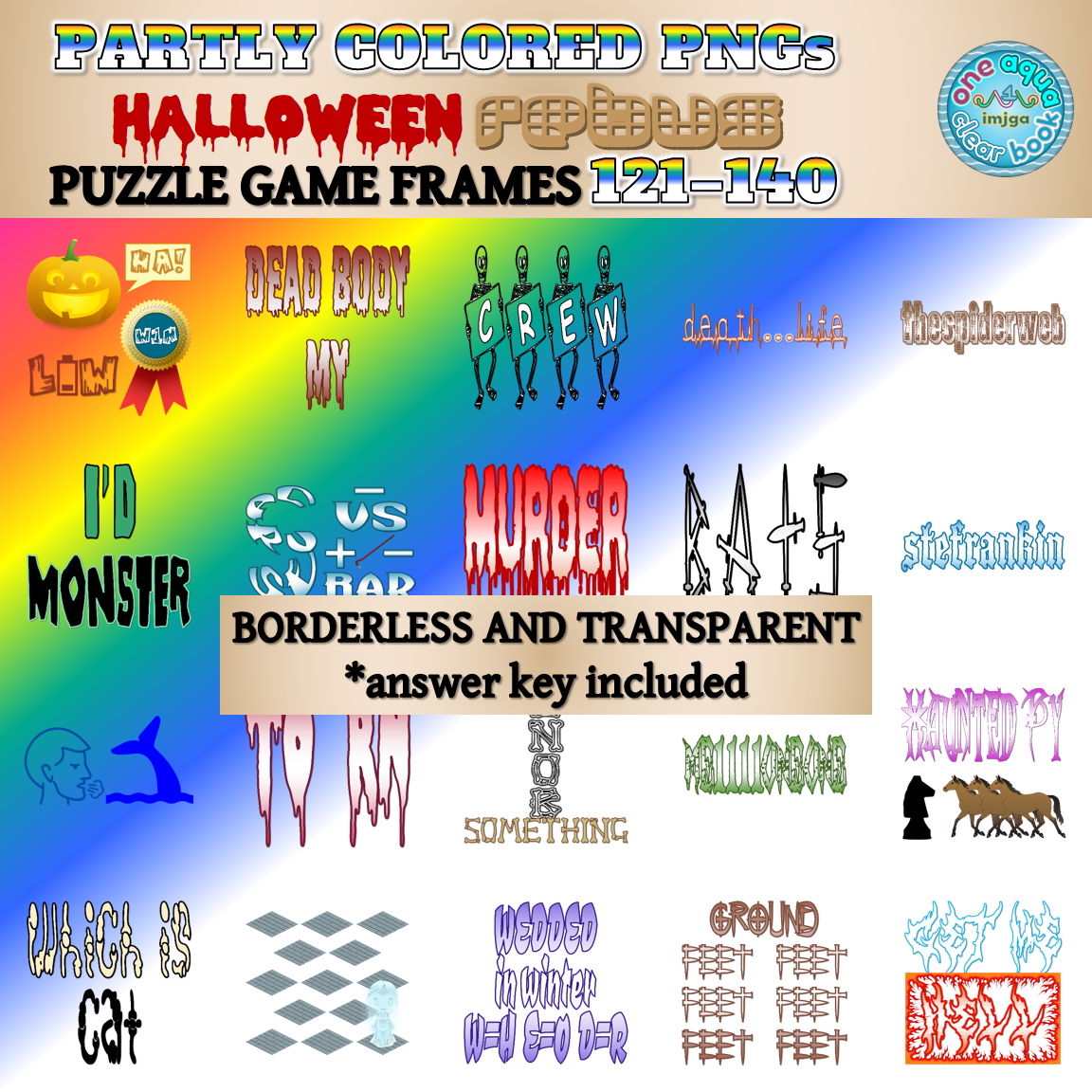 Partly Colored HALLOWEEN Rebus Frames 121-140 PNGs