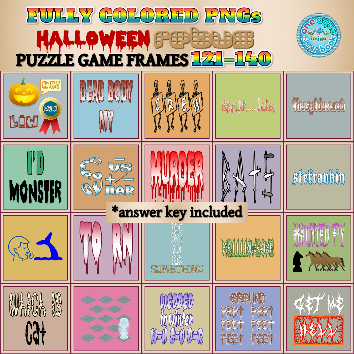 Fully Colored HALLOWEEN Rebus Frames 121-140 PNGs