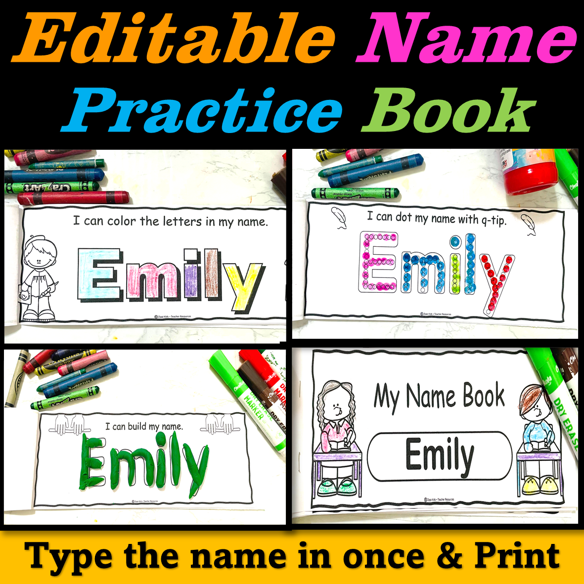 Editable Name Practice Book - Name Activities