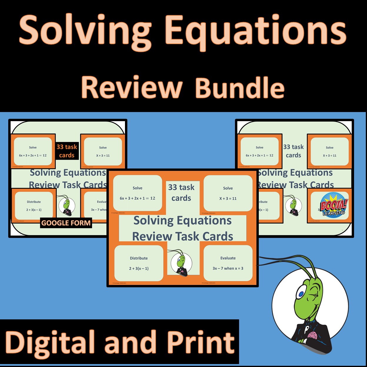 Solving Equations Review Task Cards Bundle