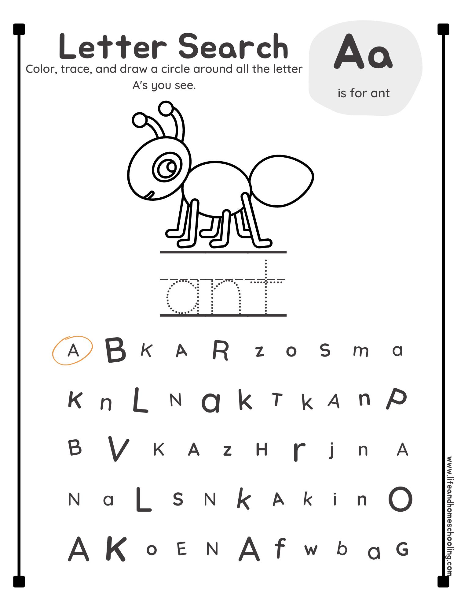 Preschool-Kindergarten Alphabet Search