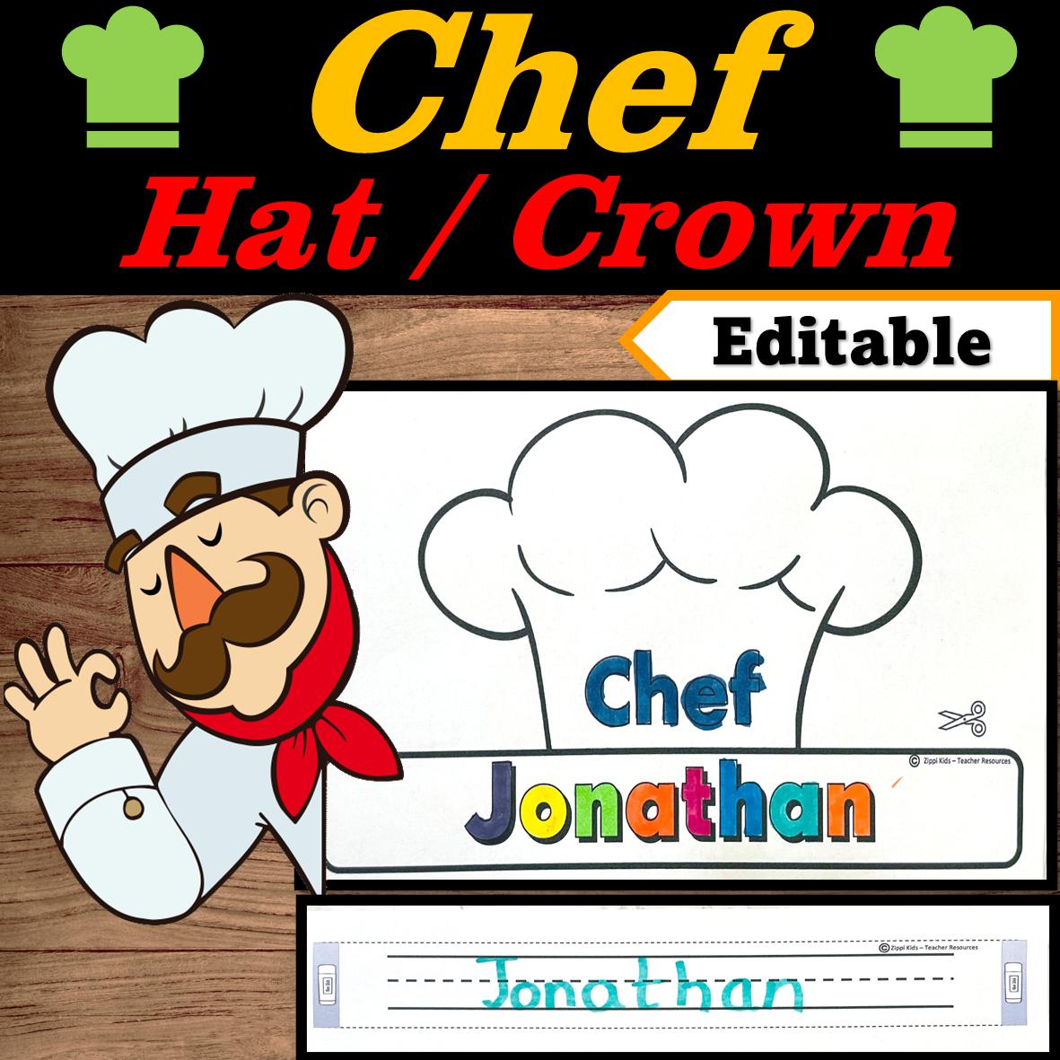 Chef Hat Editable Name Community Helpers Week