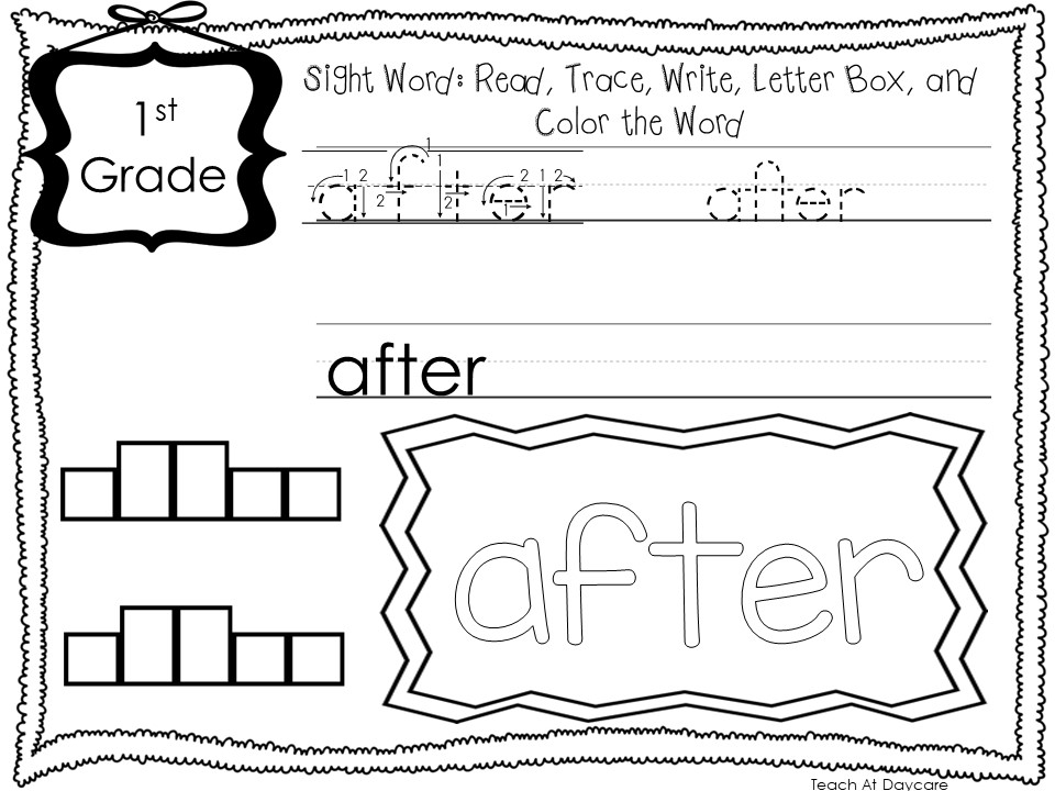 Dolch 1st Grade Sight Words Write Color Worksheets