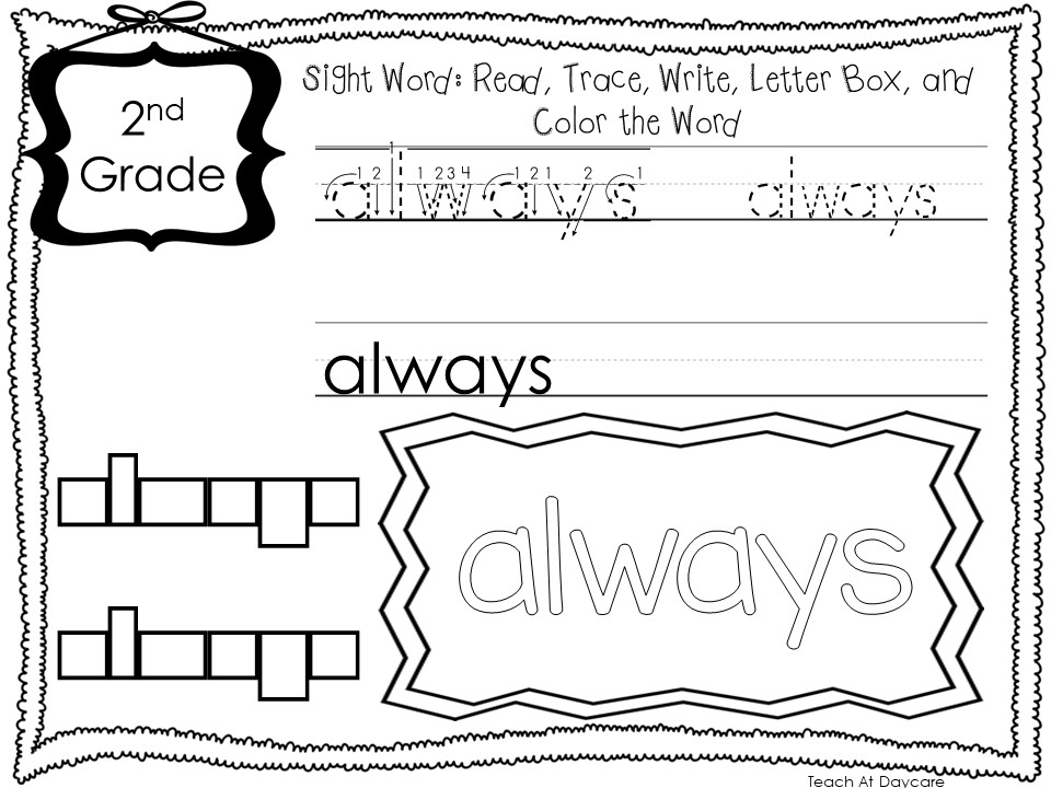 Dolch 2nd Grade Sight Words Write Color Worksheets