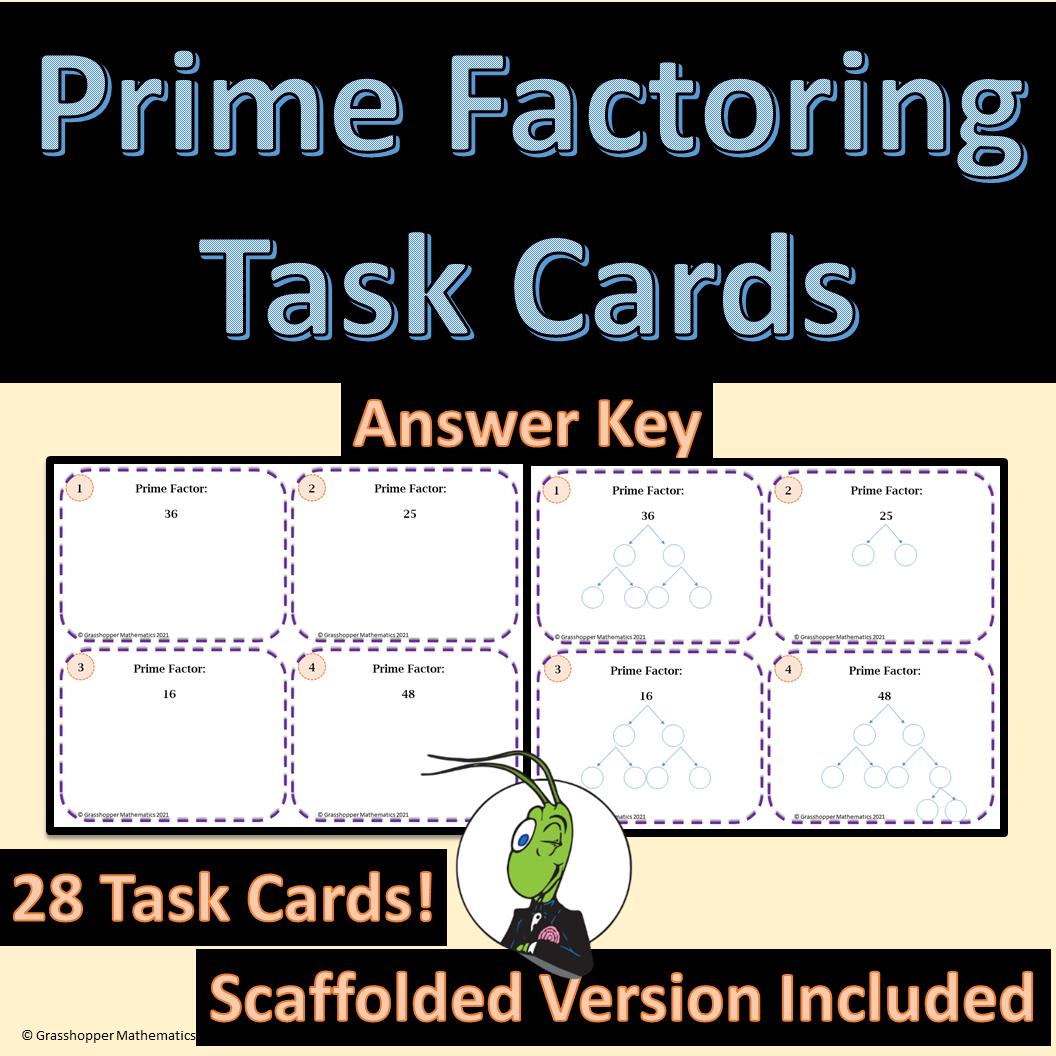 Prime Factoring Task Cards Editable