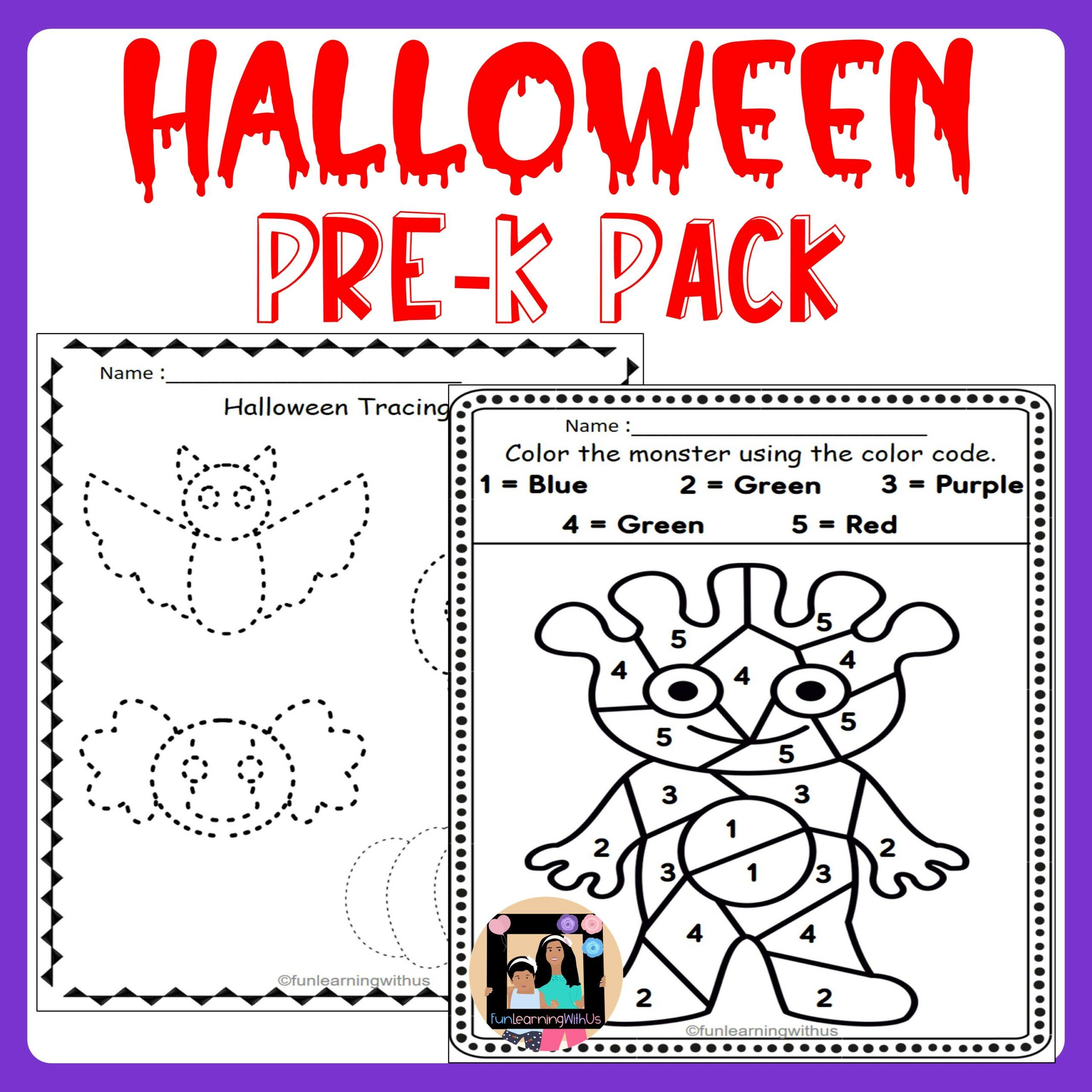 Halloween Pre-K Pack| Halloween Theme Worksheets