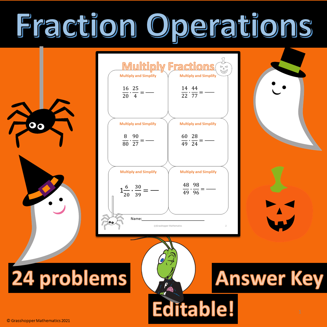 Halloween Operations of Fractions Worksheet