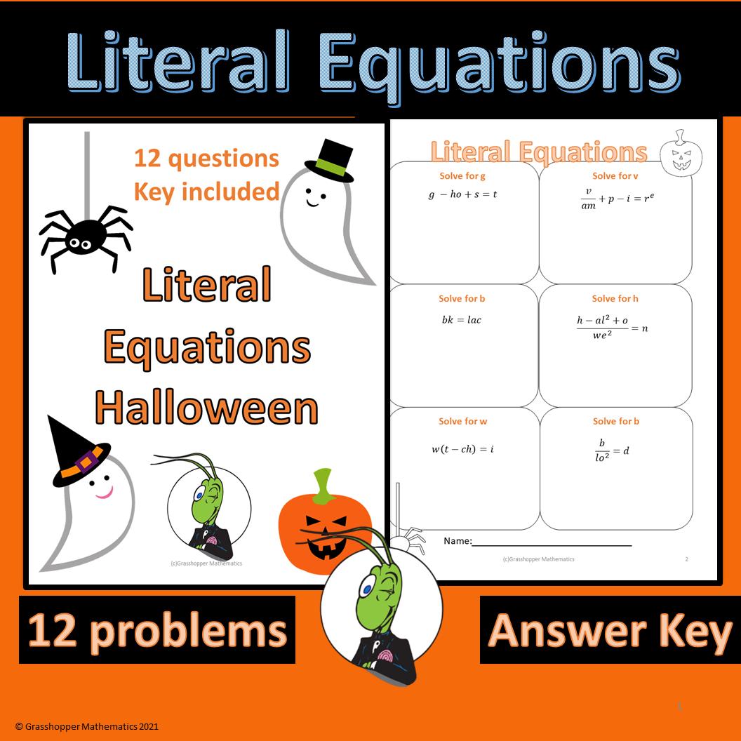 Halloween Literal Equations Worksheet