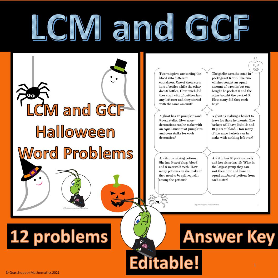 Halloween LCM and GCF Worksheet
