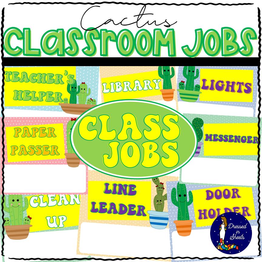 Cactus Classroom Jobs Bulletin Board Kit